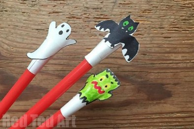 Halloween shooter toys - ghost, bat, and frankenstein paper straw toppers that you can blow air into and fly off