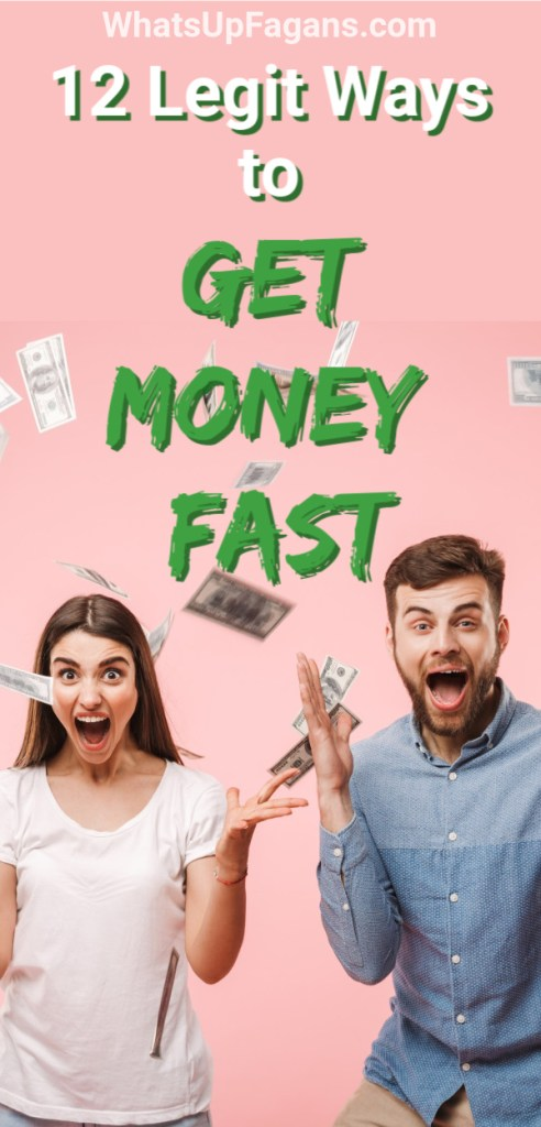husband and wife couple throwing hands up in the air as money comes raining down on them, with text that says how to get money fast now with 12 different tips for getting money fast