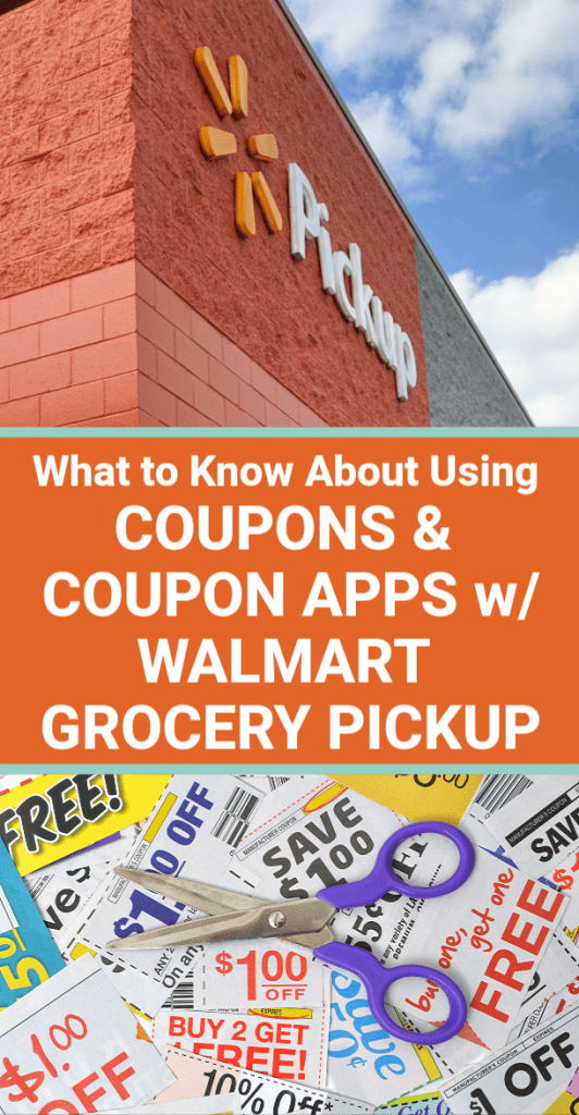 GREAT INFO about using manufacturer's grocery coupons with Walmart Grocery Pickup, and what money saving grocery coupon apps you CAN use with the service to save money.