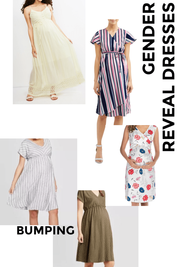 collage of blue and pink gender reveal dresses as well as white and gender-neutral gender reveal dresses and where to find these maternity dresses. Many work great for maternity photo shoots, baby showers, and other occassions.