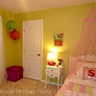 pink girls room,girl's room makeover,pink and green girls room