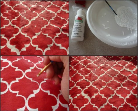 How to Paint with Acrylic Paint on Fabric   Stenciled Throw Pillow