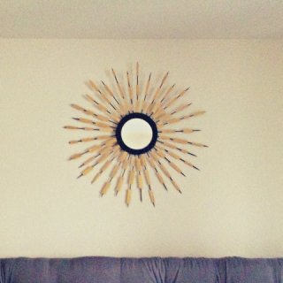 bamboo skewer sunburst mirror, DIY sunburst mirror