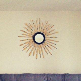 bamboo skewer sunburst mirror, DIY sunburst mirror