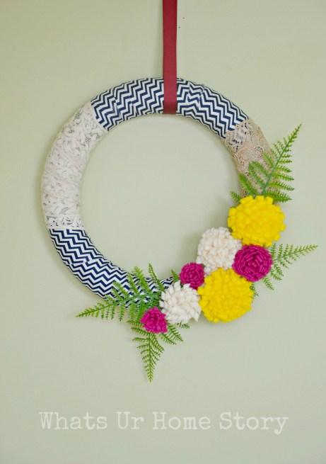 Felt Flowers & Fabric Scraps Spring Wreath