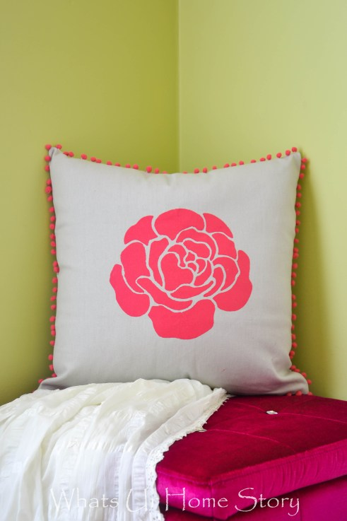 Multi Color Layered Stenciled Pillow