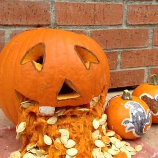 barfing halloween pumpkin