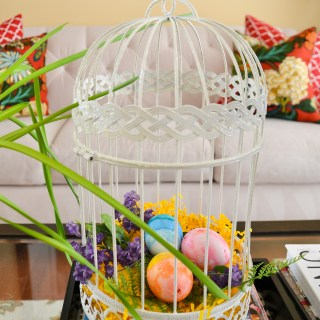 ways to decorate with Easter eggs Eggs in bird cage Spring vignette