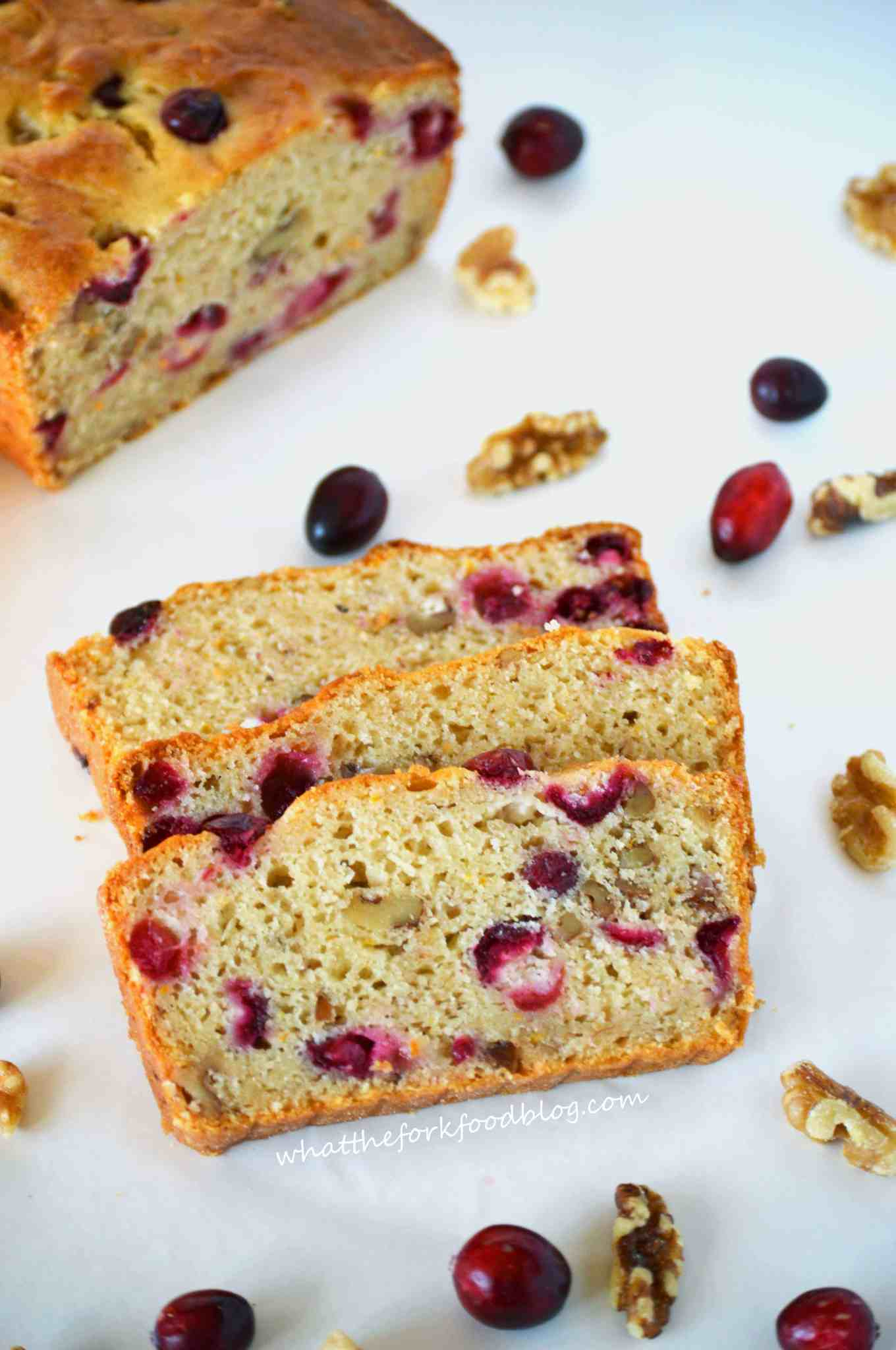Cranberry Orange Bread from What the Fork Food Blog featured on Belle of the Kitchen