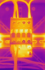 Machine parts being imaged by thermography