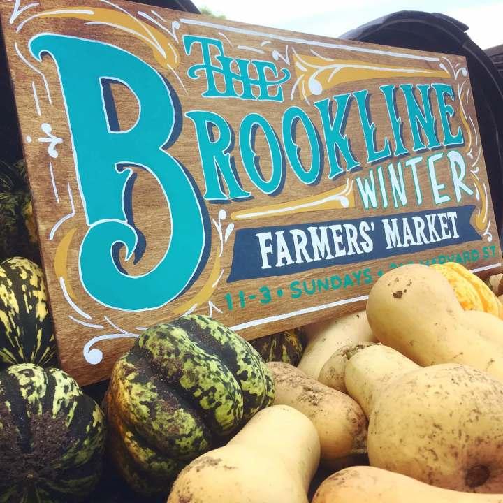Brookline Winter Farmers Market sign