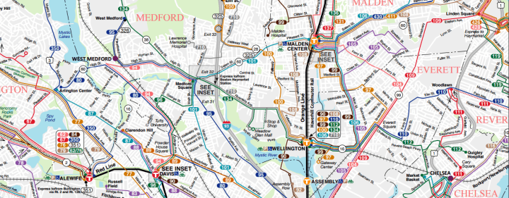 MBTA North Suburbs Map