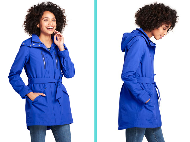 Land's End Women's Lightweight Belted Squall Rain Coat