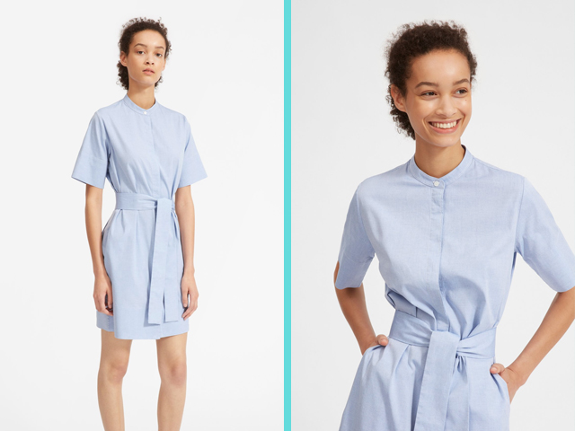 Light Blue Cotton Collarless Belted Shirtdress Everlane