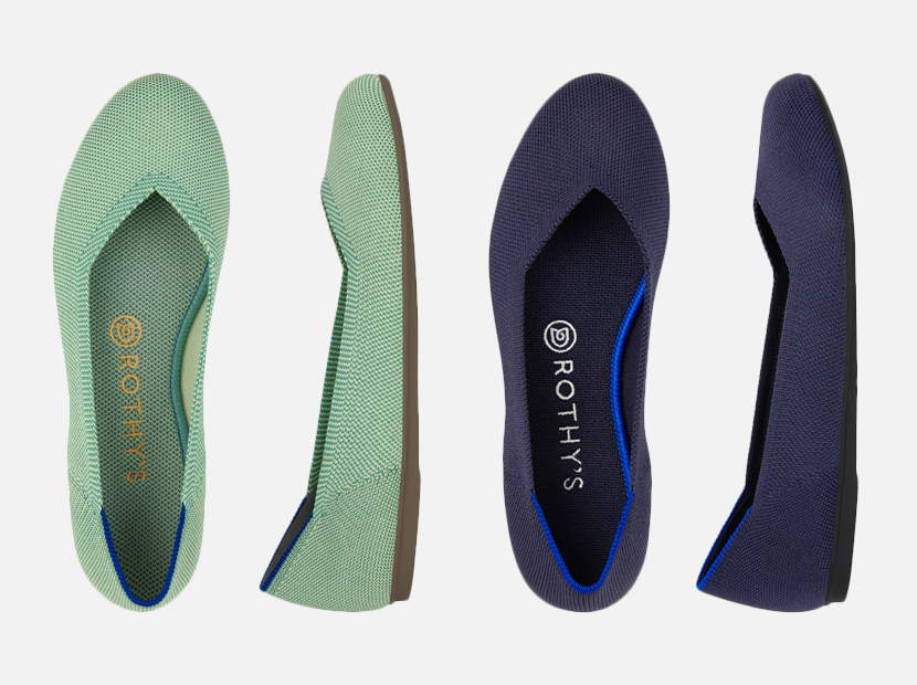 Rothys Maritime Navy and Mint Green Flats.