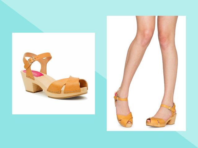 Travel Heels Swedish Hasbeen's classic Mirja sandals yellow clogs