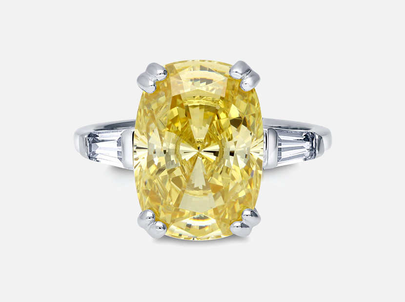 BERRICLE Rhodium Plated Sterling Silver Canary Yellow Cushion Cut Cubic Zirconia CZ Statement 3-Stone Cocktail Anniversary Fashion Right Hand Ring.