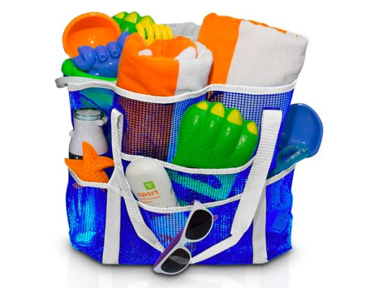 Large Mesh Beach Bag. Grocery Picnics and pool. Holds Lots of Toys. by Simply Things (blue grey)