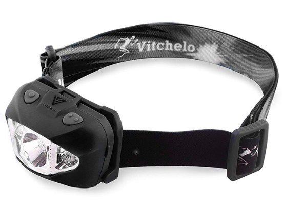 VITCHELO V800 Headlamp with White and Red LED Lights. Super Bright Head Light 168 Lumens