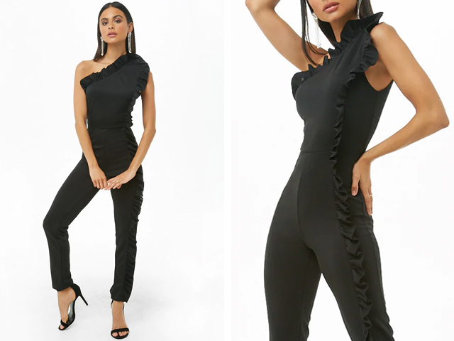Forever21 One-Shoulder Ruffled Jumpsuit