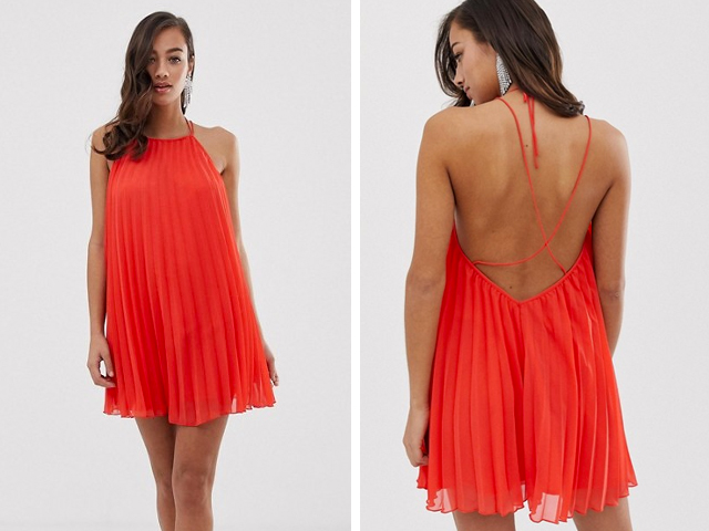 ASOS DESIGN pleated mini trapeze dress with lace up back detail.