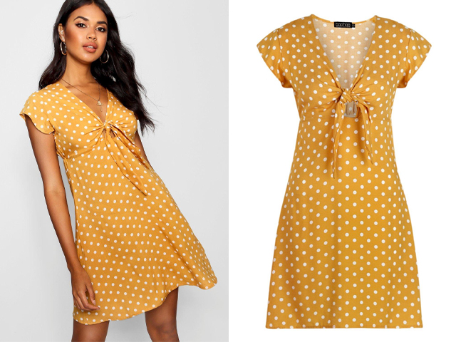 boohoo Woven Polka Dot Tie Detail Shift Dress.