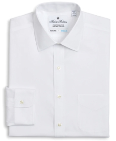 Brooks Brothers Regent Fitted Dress Shirt, Performance Non-Iron with COOLMAX®, Ainsley Collar Broadcloth.