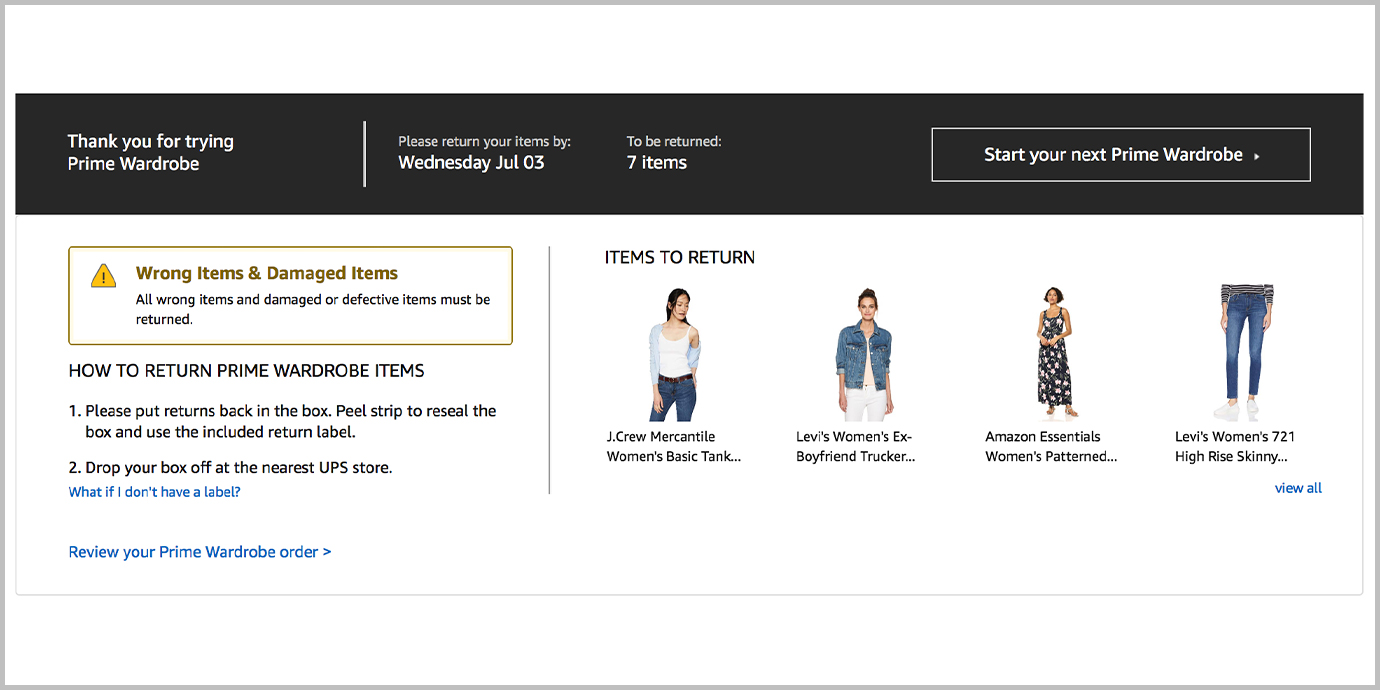 Screenshot of Prime Wardrobe Checkout process.