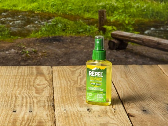 Outdoor shot of REPEL Plant-Based Lemon Eucalyptus Insect Repellent.