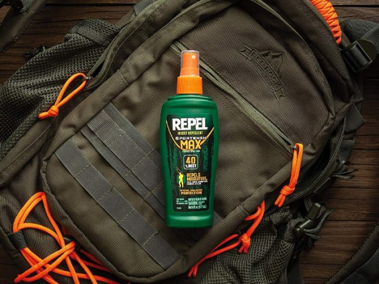 Repel Insect Repellent on a backpack.