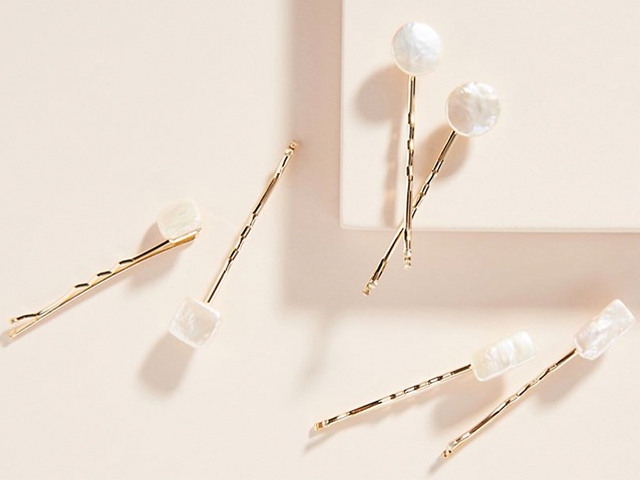 Anthropologie Carissa Pearl Bobby Pin Set.