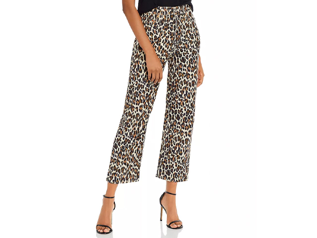 Levi's Ribcage Ankle Stretch Pants in Gehu Leopard Corduroy.