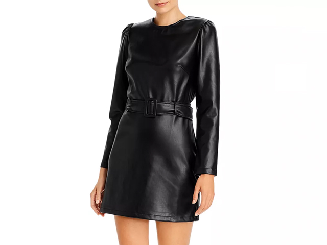 Lucy Paris Belted Faux Leather Dress.