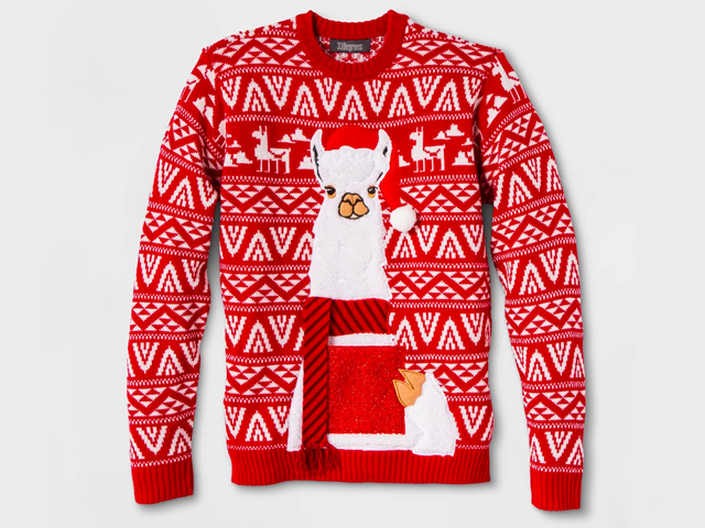 Men's Ugly Christmas Llama Drink Pocket Sweater - Red.