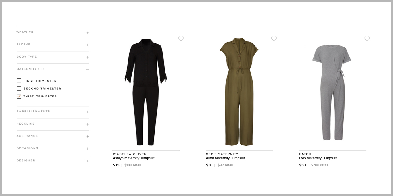 Screenshot of maternity clothing available on Rent the Runway.
