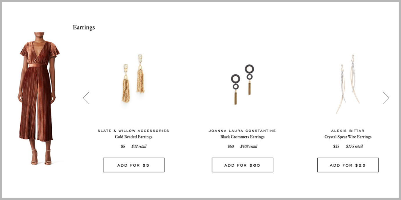 Rent the Runway accessory suggestions.