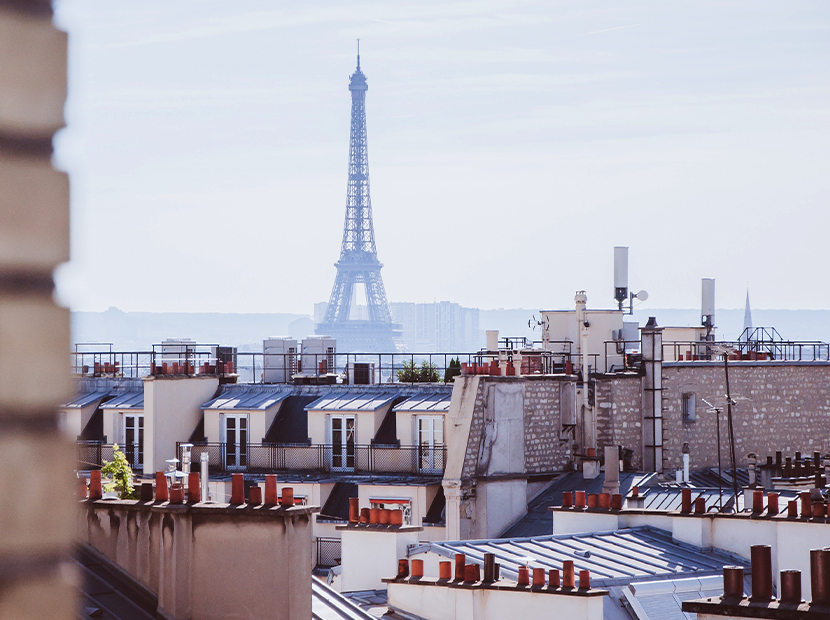 View of the Eiffel Tower from a hotel window.