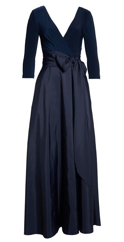Jersey & Mikado A-Line Gown ALFRED SUNG.