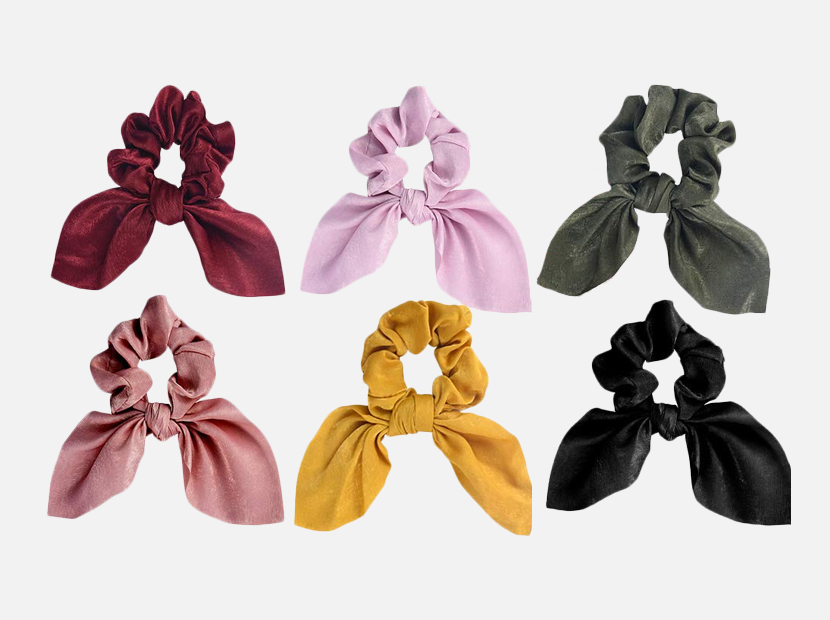 6PCS Hair Scrunchies Satin Slik Rabbit Bunny Ear Bow.