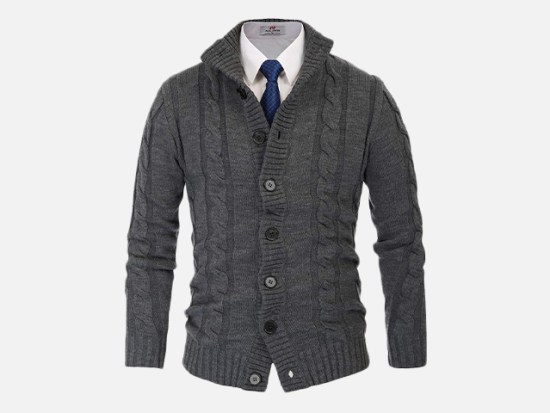 PAUL JONES Men's Stylish Stand Collar Cable Knitted Button Cardigan Sweater.