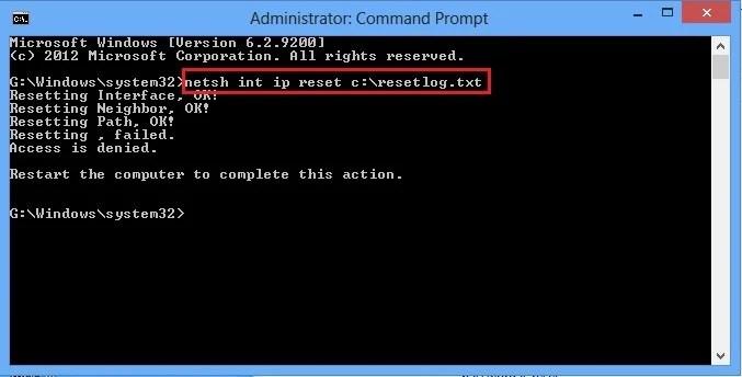 netsh int ip reset c resetlog speed up internet connection using cmd in windows xp/7/8/8.1