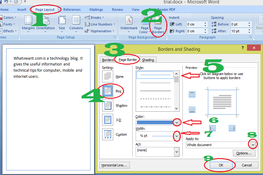 How to add border in word