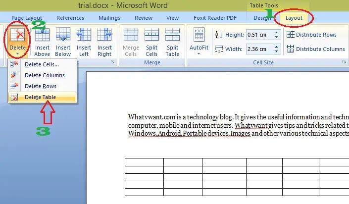 Delete a table in word