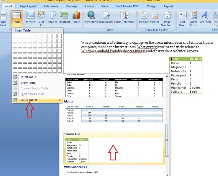 How to insert a table in word