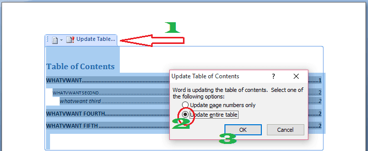 update table of content in word