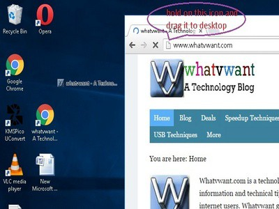 hold on that icon and drag it to desktop- How to create a website shortcut on desktop