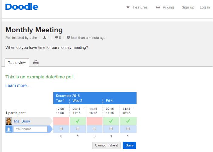 meeting scheduler Doodle