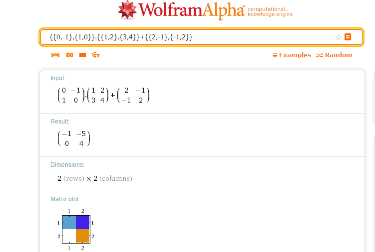 operations on matrices algebra solver wolfram alpha