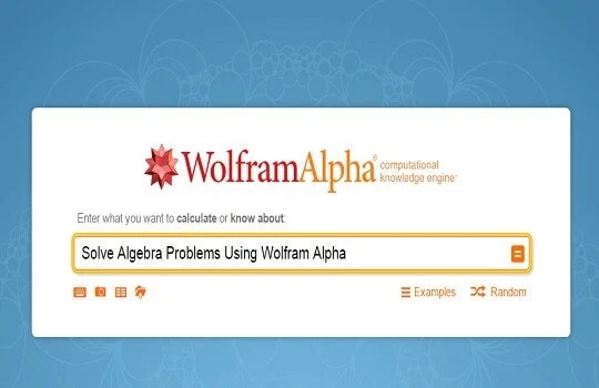 wolfram alpha to solve algebra problems