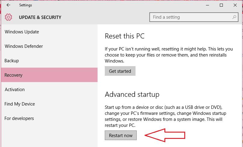 Restart pc with advanced startup